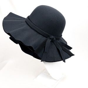 Black Felt Floppy Sun Hat with Ribbon